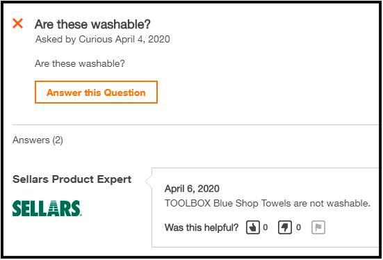 screenshot of conversation about washability of Toolbox blue shop towels
