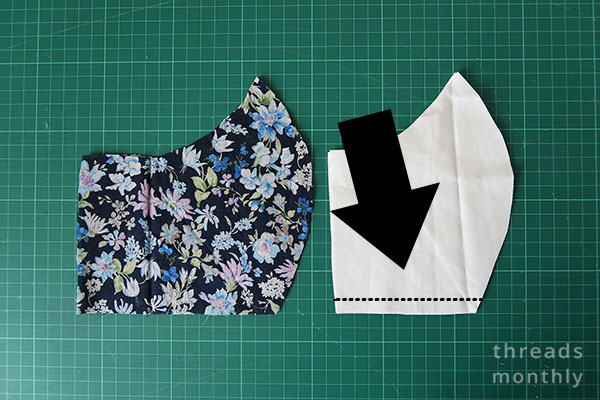 White and floral Craft Passion face mask fabric cut out