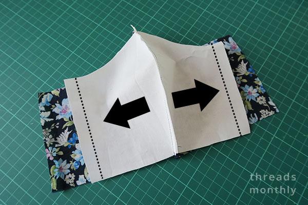 fold line on white lining piece