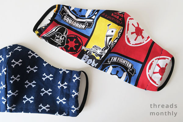 Craft Passion face masks for children using red and blue Star Wars fabric