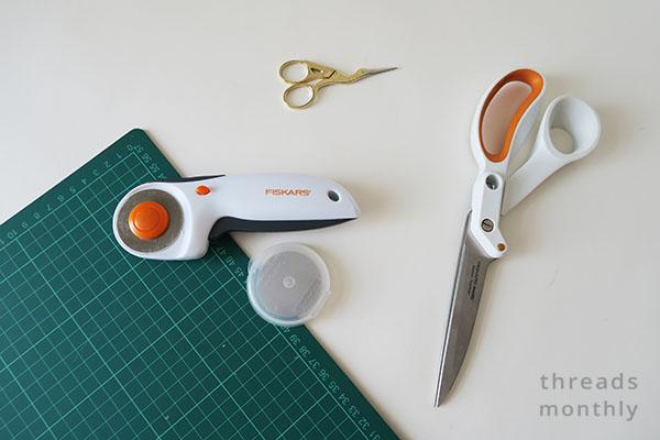 rotary cutter, cutting mat, and fabric scissors