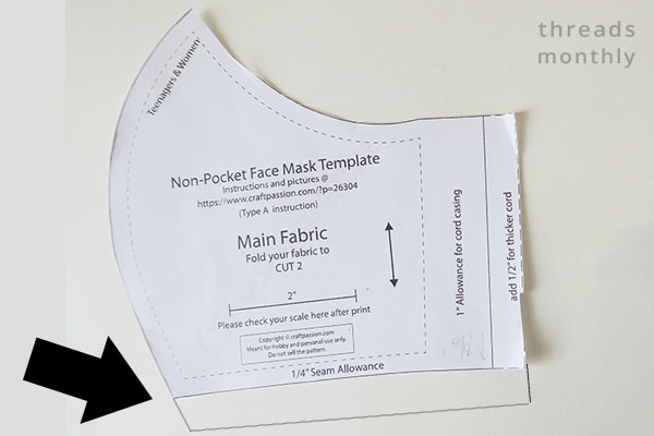 how to lengthen the Craft Passion face mask template