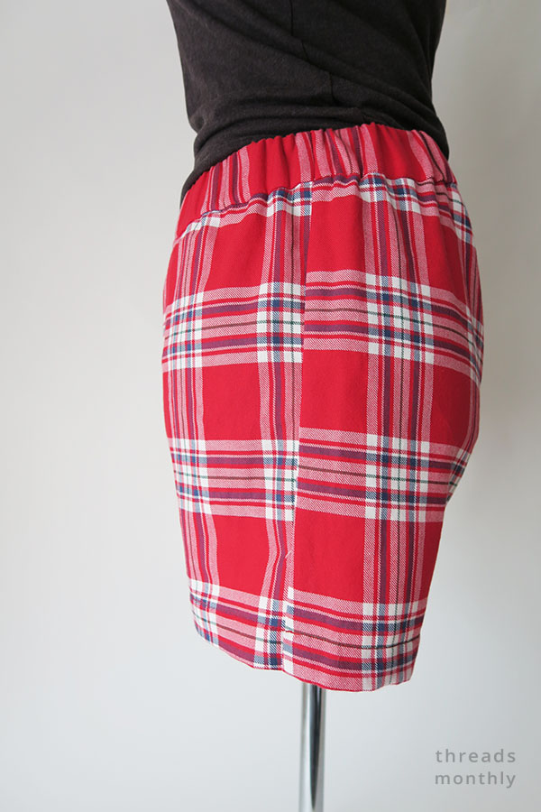side view of red pajama shorts worn by mannequin