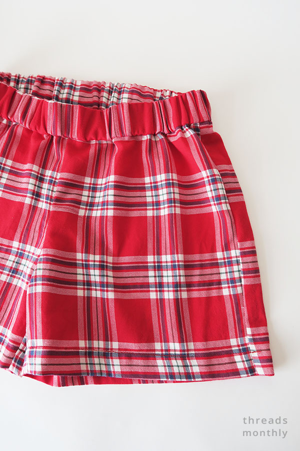 red plaid pajama shorts with elastic waistband