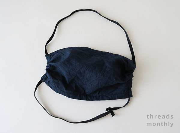 navy rectangle face mask with gathers
