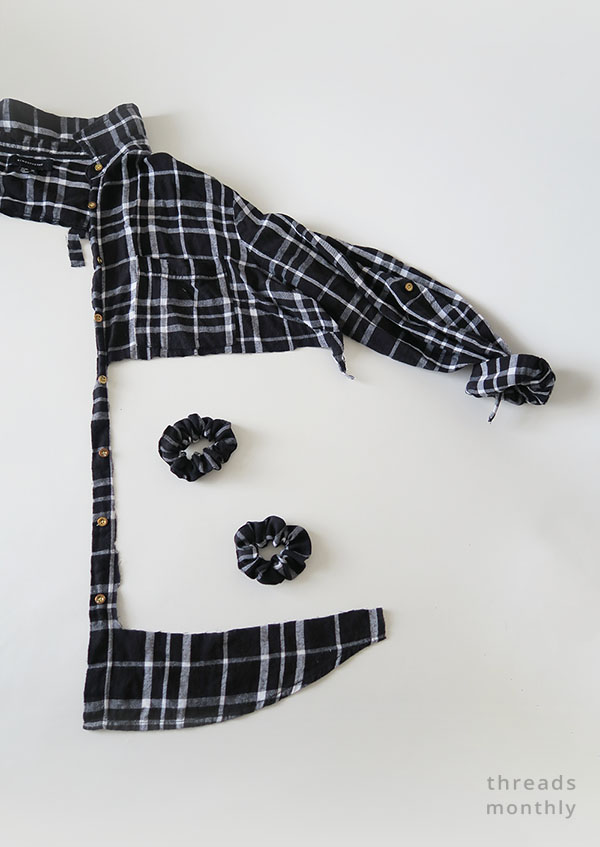 plaid flannel mens shirt cut up and refashioned into scrunchies