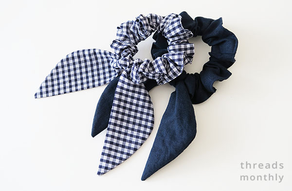 check and navy scrunchies with bows