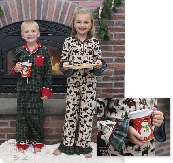button-up christmas pajamas worn by girl and boy