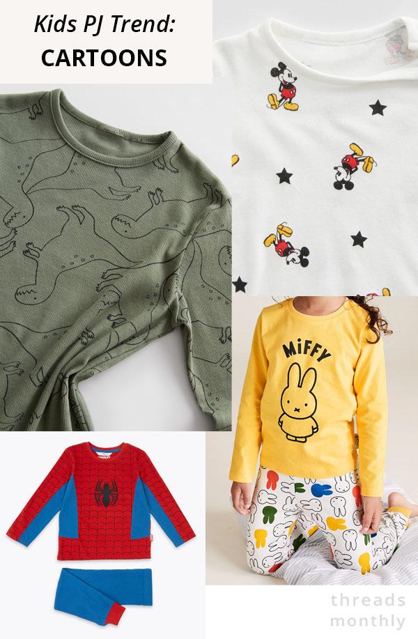 kids pajamas with cartoons like mickey mouse, spider man, dinosaurs, and miffy.
