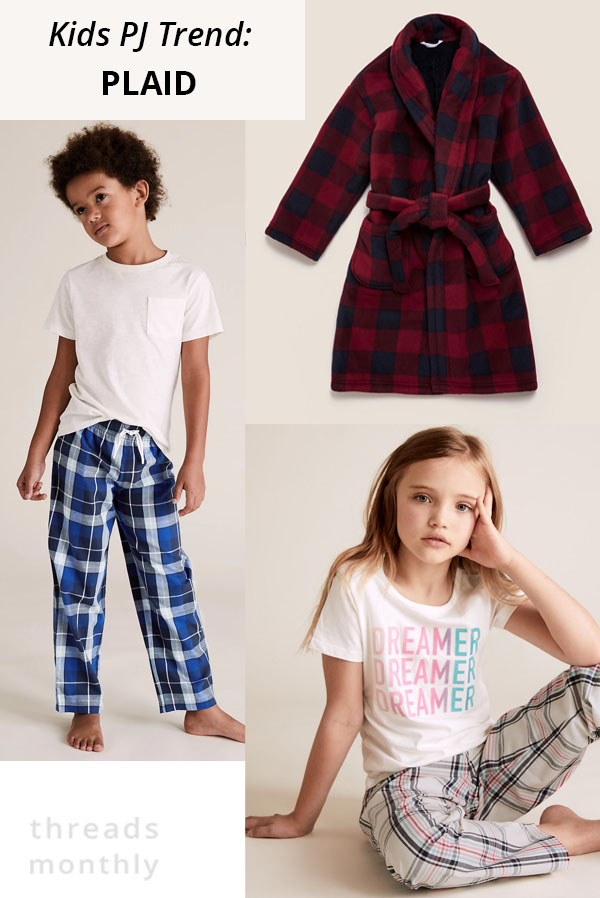 plaid flannel kids pajamas