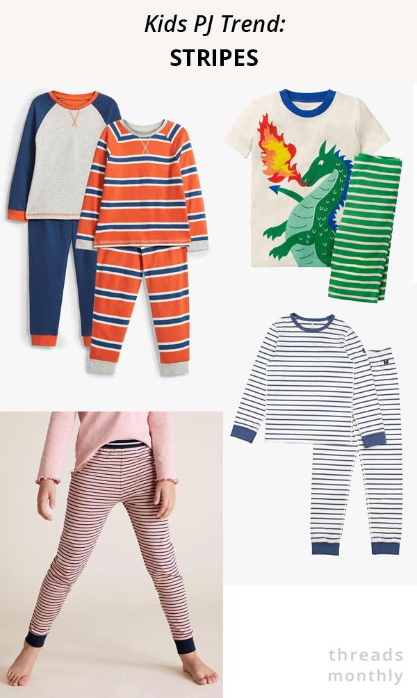 stripey kids pajamas