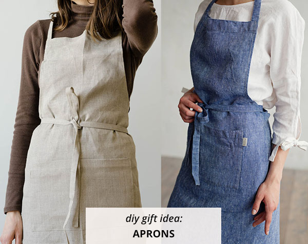 2 linen aprons in denim and cream