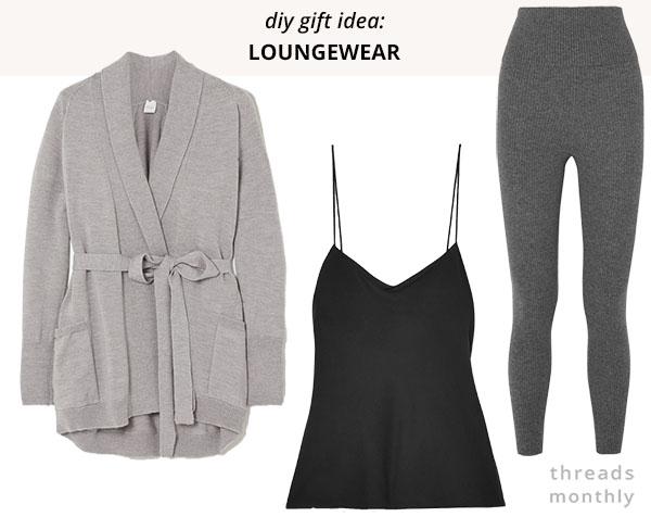 grey leggings and cardigan, and black cami top