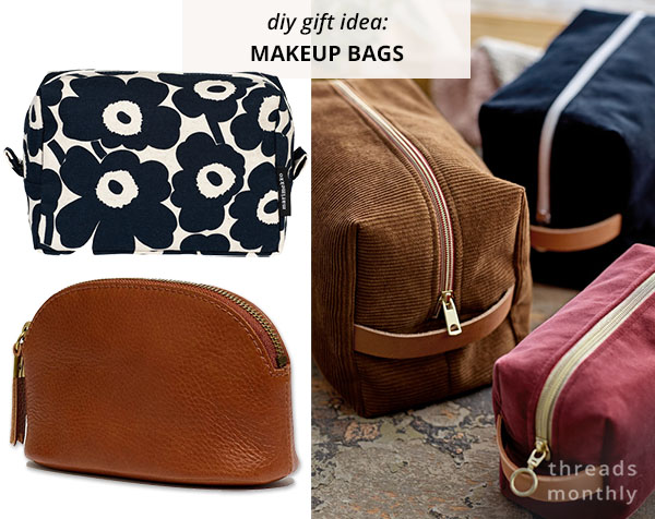 5 plain and floral makeup bags