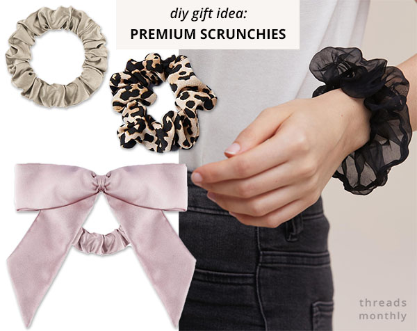 4 scrunchies in different colors and materials