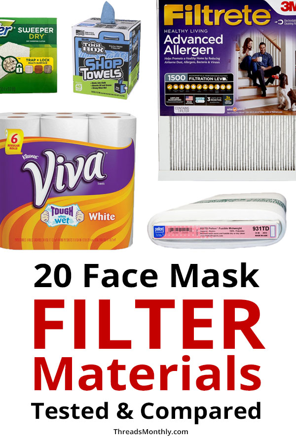 diy face mask filter materials tested and compared