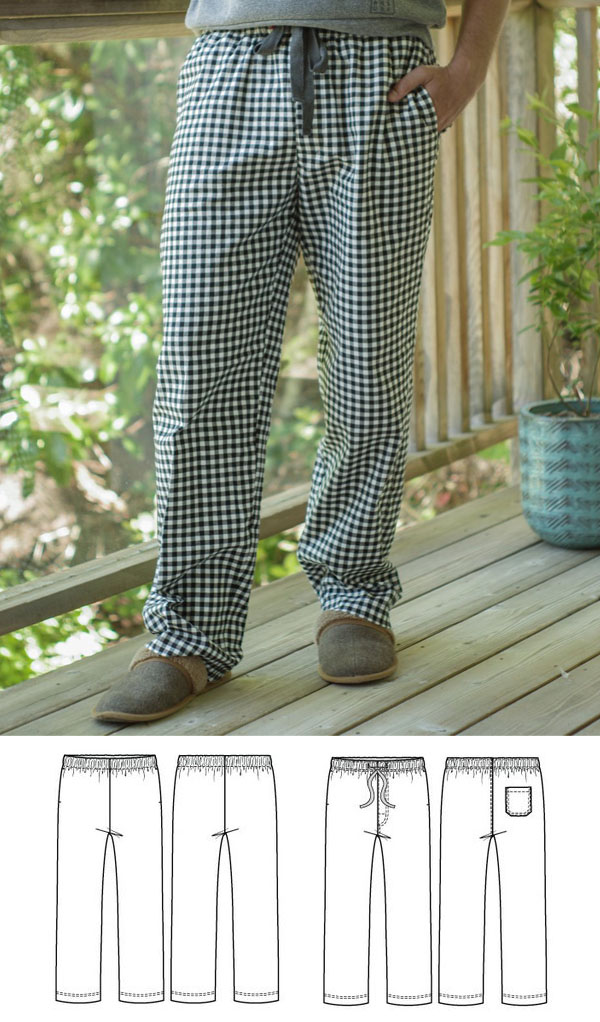 black and white check pajama pants with drawstring worn by man