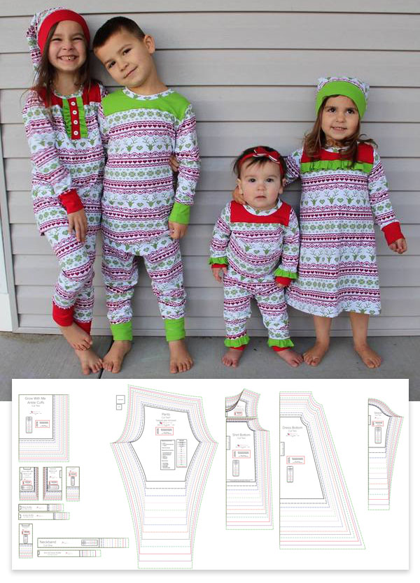 free sewing pattern for 2-piece pajama set and nightdress worn by 4 kids