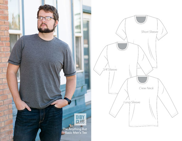 man wearing grey t-shirt and free sewing pattern line drawings