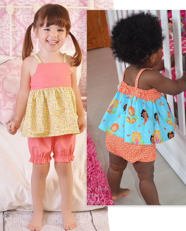 top and bloomers pajamas worn by 2 girls