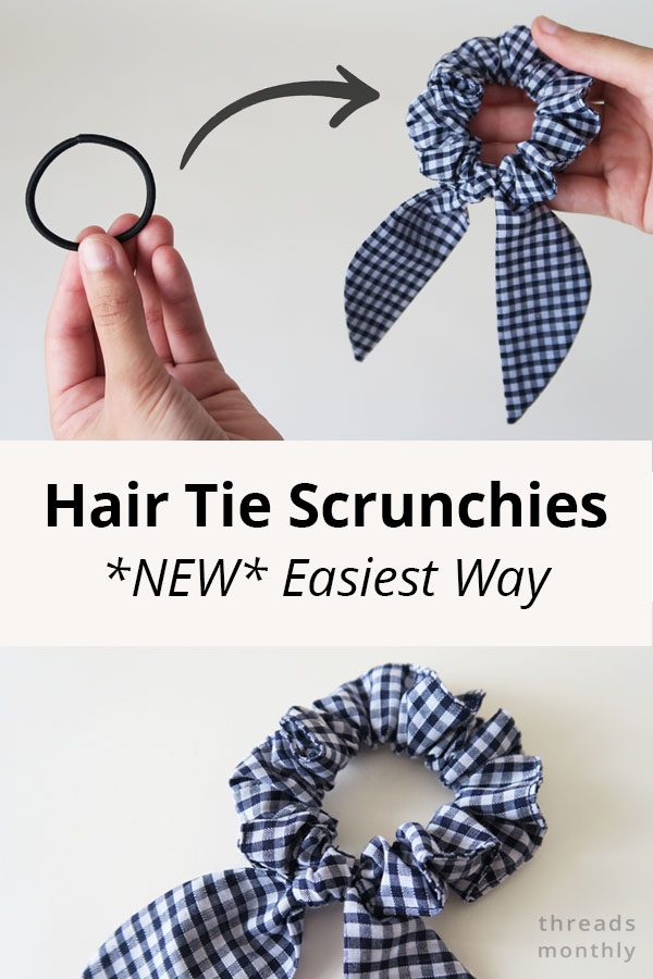 DIY Scrunchie with Hair Tie (*New* Easiest Method) + Pattern