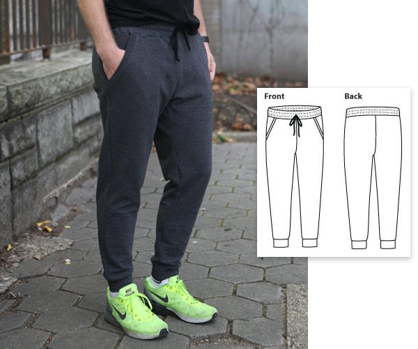 man wearing dark grey sweatpants