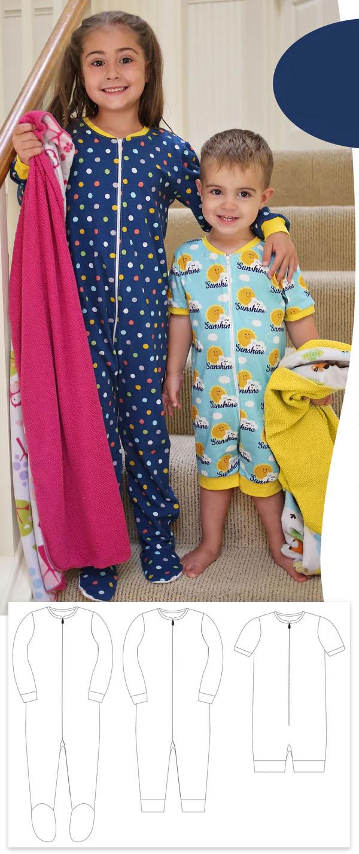 onesie pajamas pattern for kids
