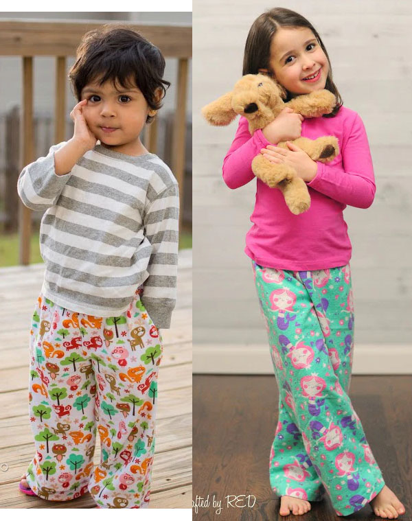 free pajama bottoms sewing pattern worn by girl and boy