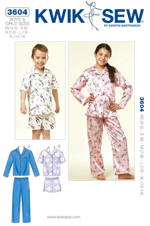button-up kids pajama sewing pattern by kwik sew 3604