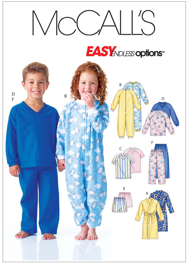 mccalls onesie and pajama patterns for kids