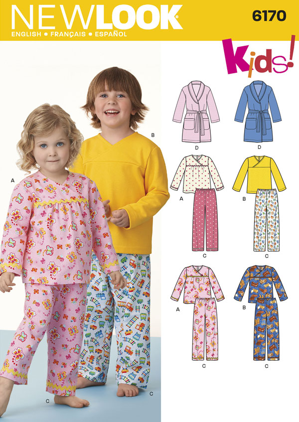 kids pajama sewing pattern by new look 6170