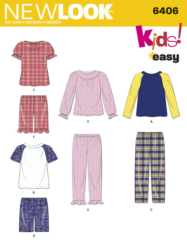kids pajama sewing pattern by new look 6406