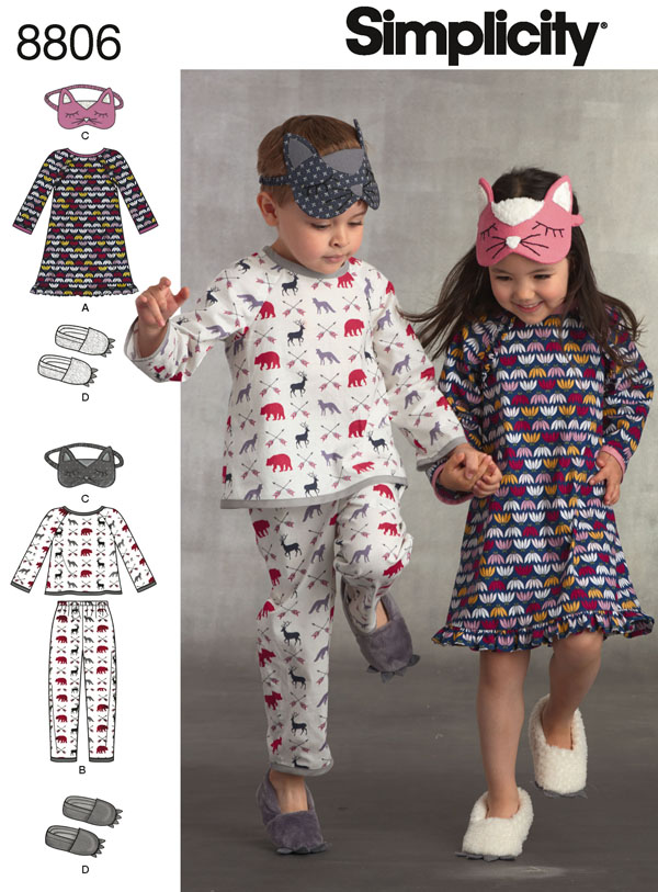 pajama set pattern and eye mask for kids