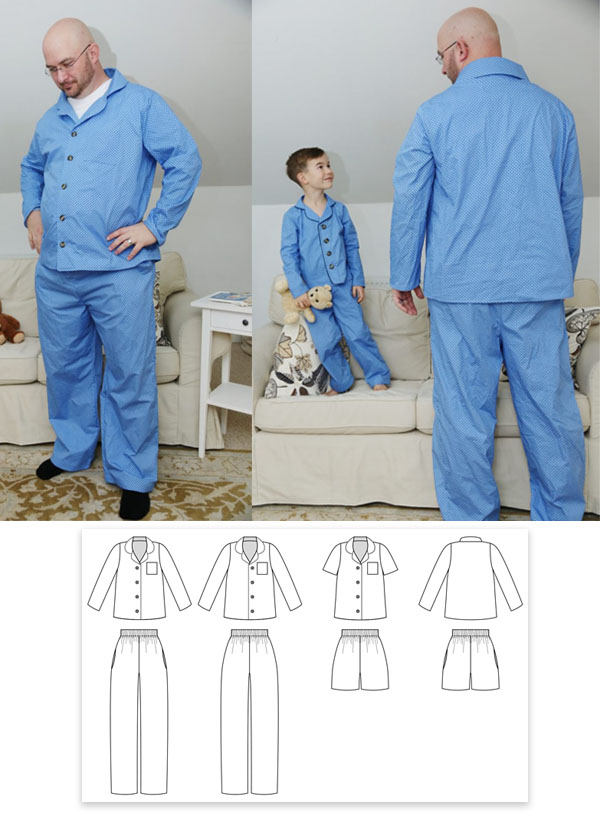man wearing blue pajamas with buttons and sewing pattern line drawing