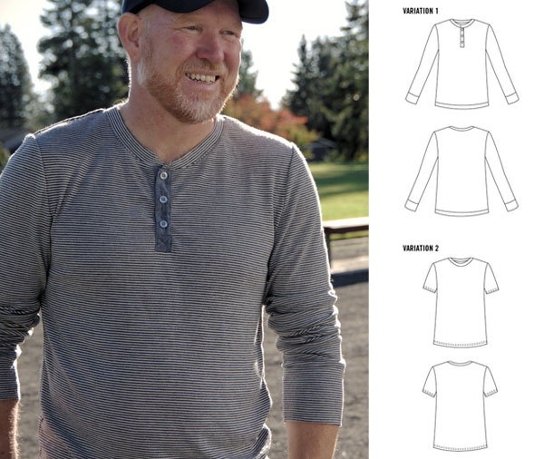 man wearing grey henley shirt and sewing pattern line drawings