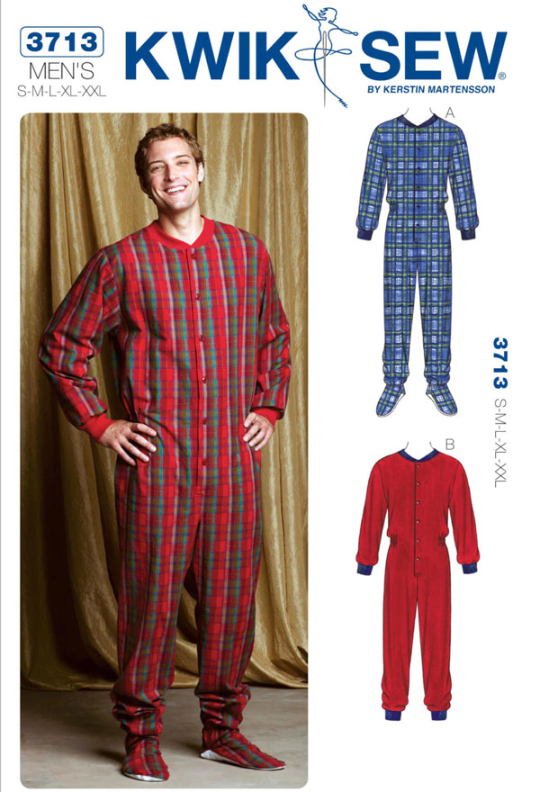 man wearing red/green check onesie pajama, and sewing pattern line drawings