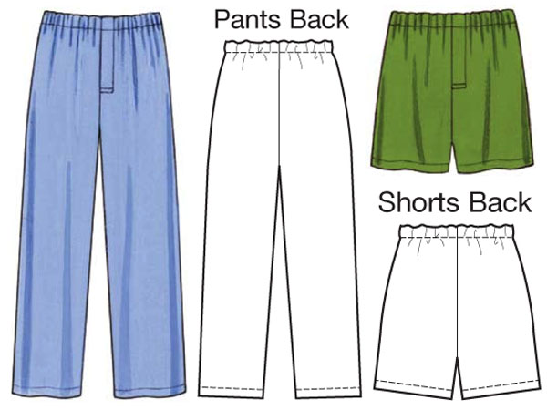 line drawing for mens pajama pants and shorts sewing pattern