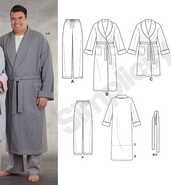 man wearing long grey robe and pajama pants, and sewing pattern line drawings