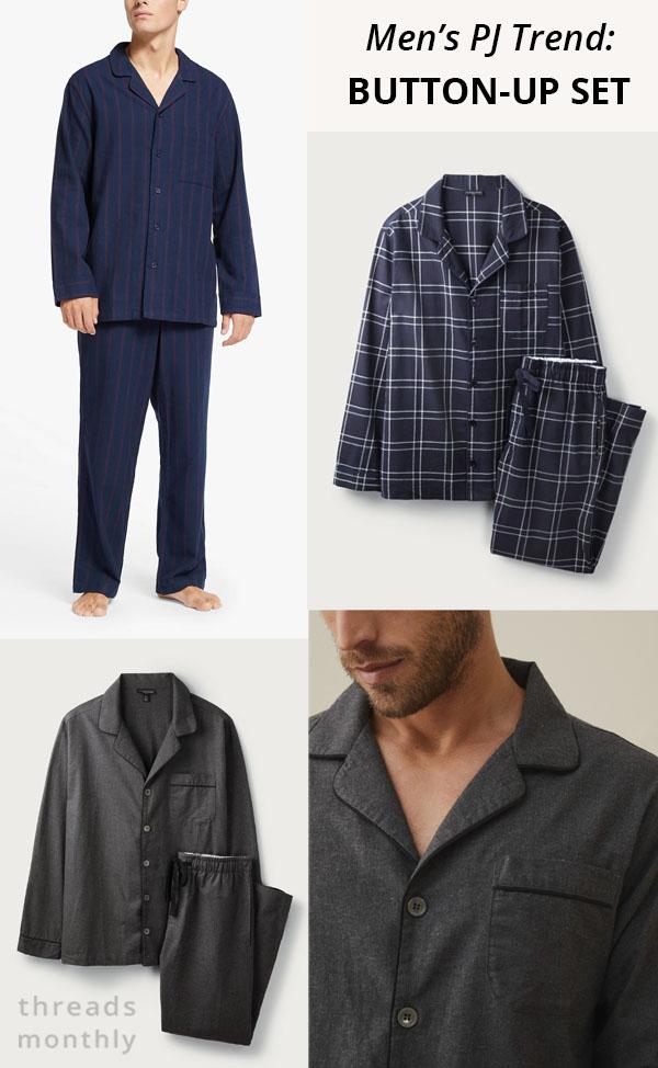 men's 2 piece pajamas with button-up shirts