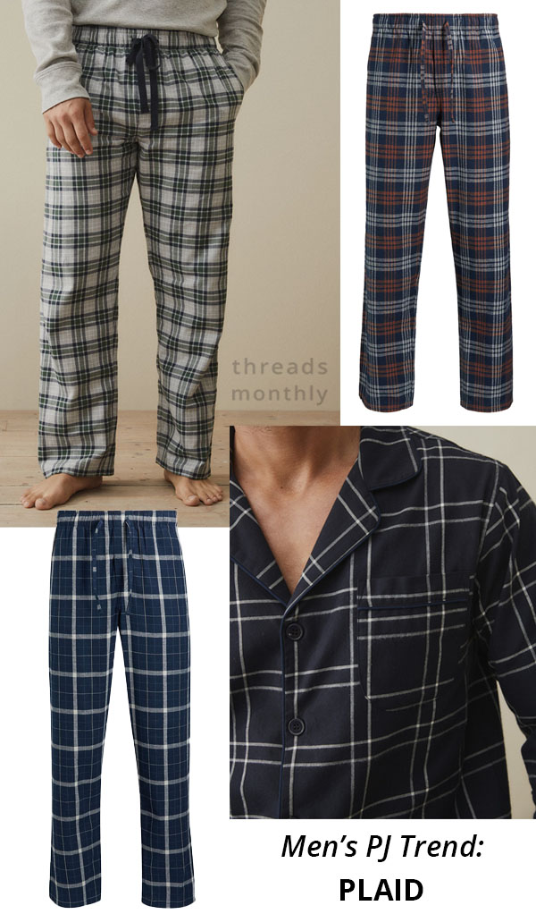 mens pajamas in plaid fabric