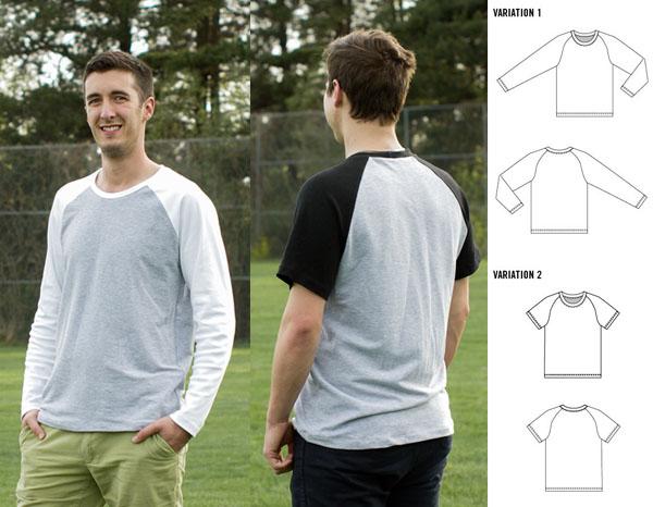 2 men wearing grey/black/white sweatshirt with sewing pattern line drawing