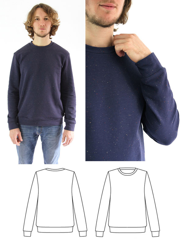 man wearing navy sweatshirt and sewing pattern line drawing