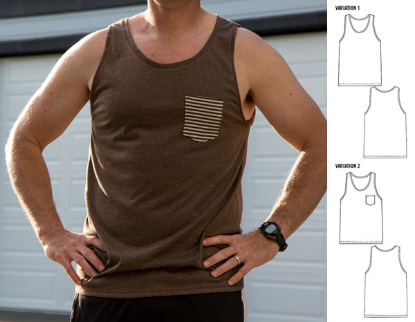 man wearing brown tank top and sewing pattern line drawings