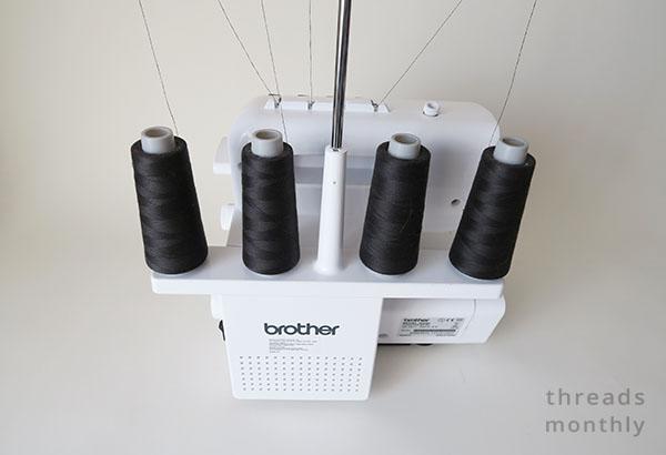 4 black overlocker threads on machine