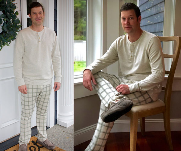 man wearing stretch pajama top and pants in white