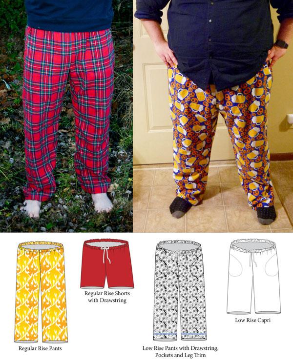 pajama shorts and pants line drawings, and 2 men wearing pants.