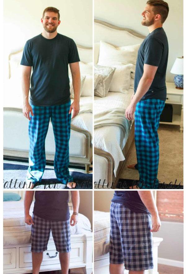 men wearing check print pajama pants and shorts