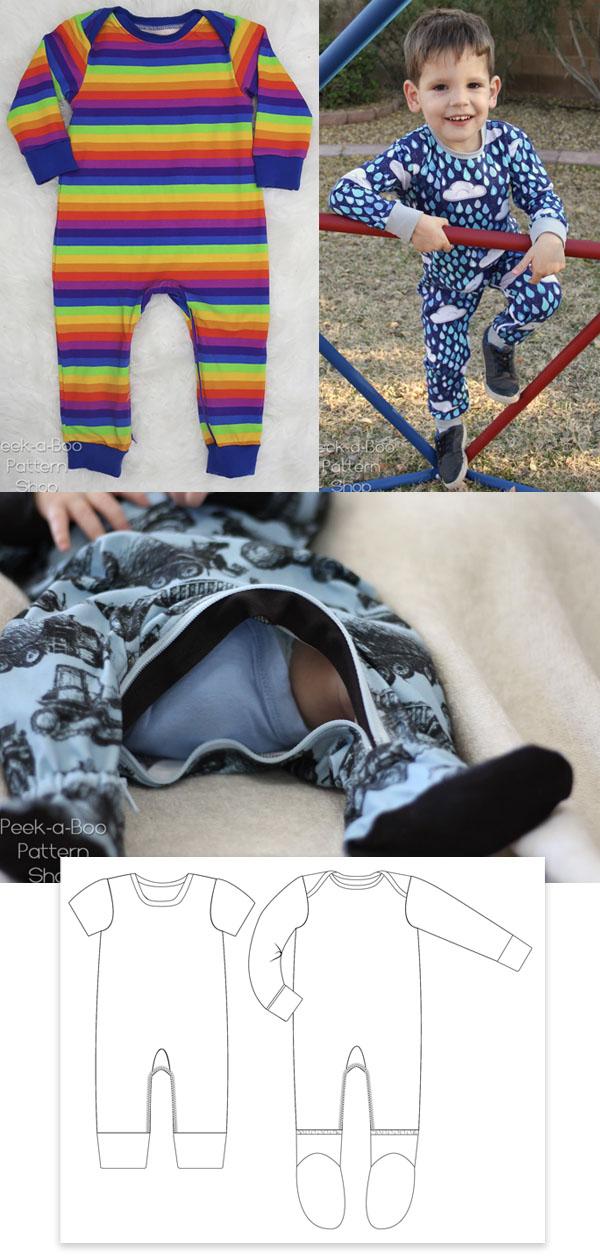 onesie pyjamas with zip worn by kids