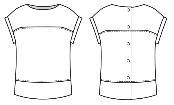 free sewing pattern line drawing of a top with short grown on sleeves and buttons on the back