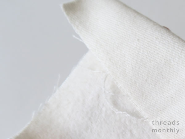 close up of white brushed cotton fabric